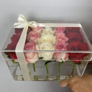 Цветы в прозрачной коробке - купить в Киеве с доставкой